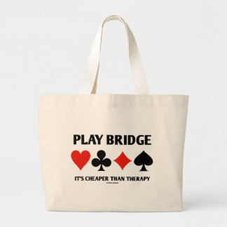 Play Bridge It's Cheaper Than Therapy (Card Suits) Jumbo Tote Bag