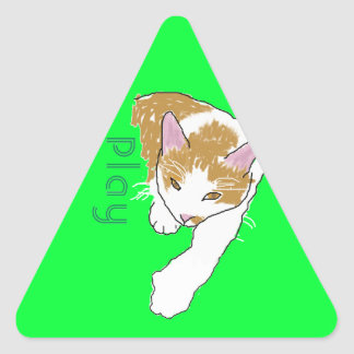 Play cartoon cat triangle sticker