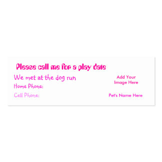 Play Date Calling Card Pink - Customized Double-Sided Mini Business Cards (Pack Of 20)