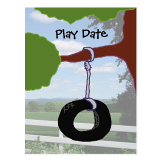 Play Date Tire Swing Invitation Postcard