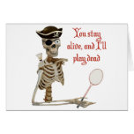 Play Dead Badminton Pirate Greeting Card