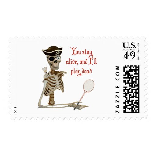 Play Dead Badminton Pirate Postage Stamp