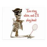 Play Dead Badminton Pirate Postcard