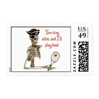 Play Dead Tennis Pirate Stamp