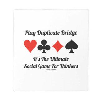 Play Duplicate Bridge It's Ultimate Social Game Notepad
