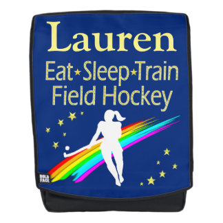 PLAY FIELD HOCKEY BLUE PERSONALIZED BACKPACK