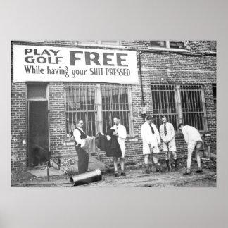 Play Golf Free Vintage Golf Humor Poster
