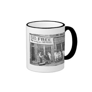 Play Golf Free (While Having Your Suit Pressed) Ringer Coffee Mug