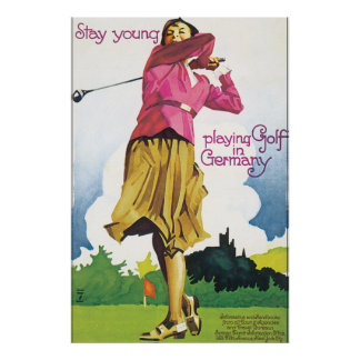 Play Golf in Germany Vintage Travel Poster