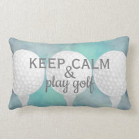 play golf quote for golfers blue and white lumbar pillow