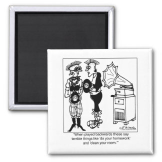 Play Gramophone Records Backwards 2 Inch Square Magnet