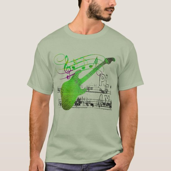 Play Guitar Retro Distressed Abstract Music Color T-Shirt