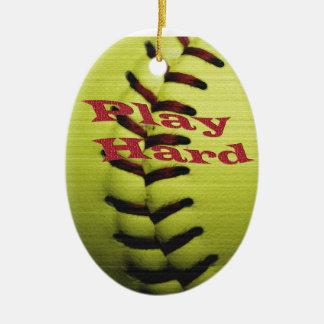 Play Har Softball Ceramic Ornament