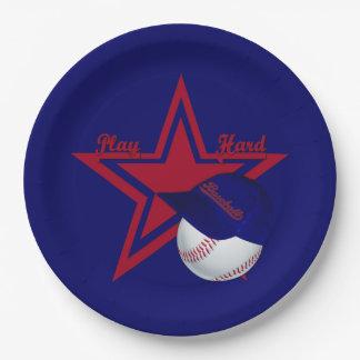 Play Hard, Baseball-Blue Paper Plates