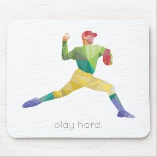 Play Hard Baseball Origami Mouse Pad