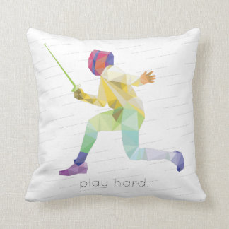 Play Hard Fencing Origami Throw Pillow