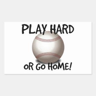 Play Hard or Go Home! Baseball Rectangular Sticker