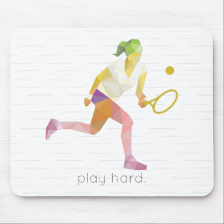 Play Hard Origami Tennis Mouse Pad