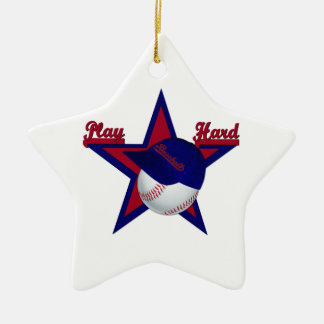 Play Hard Softball and Hat Star Ornament
