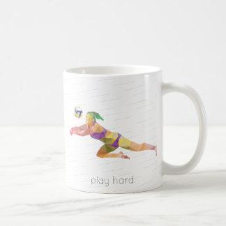 Play Hard Volleyball Origami Coffee Mug