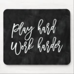 "Play Hard Work Harder | Black Watercolor Mouse Pad<br><div class=""desc"">Remind yourself to work hard everyday with a &quot;Play Hard Work Harder&quot; mouse pad. This inspirational mouse pad features a black watercolor background and modern script typography. Add text with the Customize It button to create a personalized design.</div>"