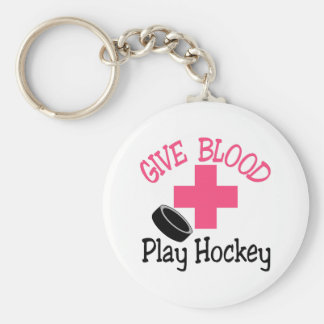 Play Hockey Basic Round Button Keychain