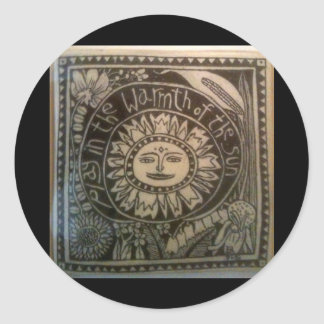 play in the warmth of the sun ceramic tile classic round sticker