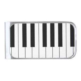 PLAY IT AGAIN, SAM! (piano keyboard design) ~ Silver Finish Money Clip