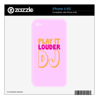 PLAY it LOUDER DJ! Decal For iPhone 4