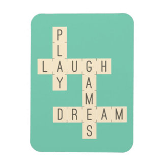 PLAY LAUGH GAMES DREAM CROSSWORD PUZZLE HAPPINESS MAGNET