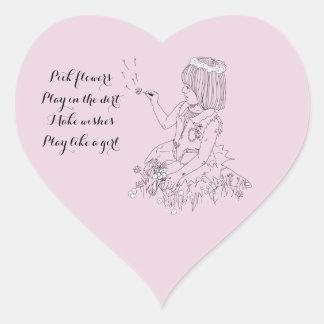 Play like a girl heart sticker