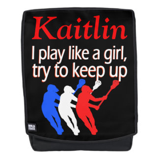 PLAY LIKE A GIRL PERSONALIZED LACROSSE BACKPACK