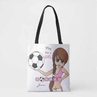 Play Like a Girl Pink Soccer Tote Bag