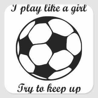 play like a girl square sticker