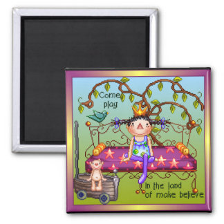 Play Make Believe Pixel Art 2 Inch Square Magnet