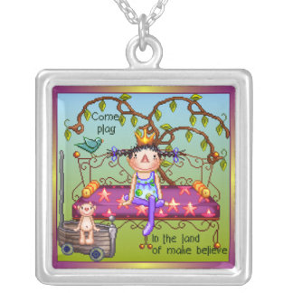 Play Make Believe Pixel Art Square Pendant Necklace