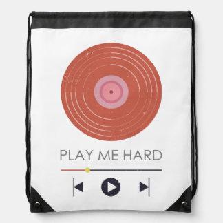 Play me hard - mobile music play funny mockup cinch bag