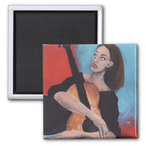 Play Me (The Girl with the Guitar) 2 Inch Square Magnet
