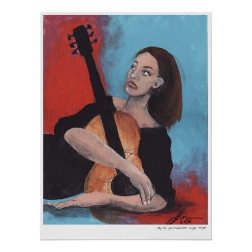 Play Me (The Girl with the Guitar) Print