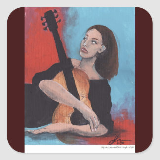 Play Me (The Girl with the Guitar) Square Sticker
