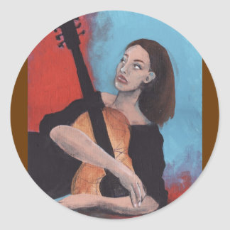 Play Me (The Girl with the Guitar) Round Sticker