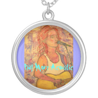Play More Acoustic Girl Round Pendant Necklace