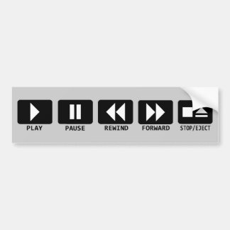 play pause rewind forward stop/eject bumper sticker