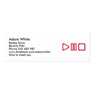 Play pause stop mini business card