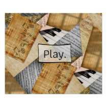 Play, Piano Keys Antique Sheet Music