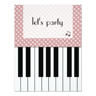 play piano party 4.25x5.5 paper invitation card