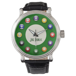 Play Pool - A Pool Ball Mens Watch at Zazzle