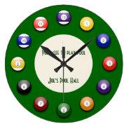 Play Pool - A Pool Ball Wall Clock at Zazzle