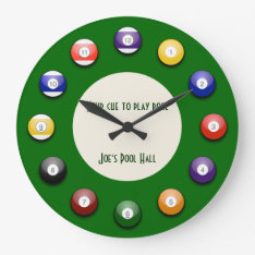 Play Pool - A Pool Ball Wall Clock at Zazzle