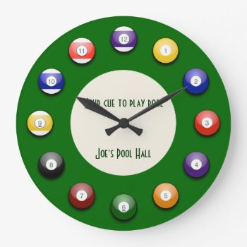 Play Pool - A Pool Ball Wall Clock by DigitalDreambuilder at Zazzle